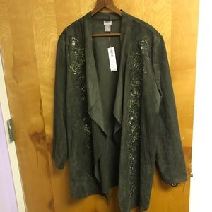 Chico's olive emb faux suede draped jacket  NWT